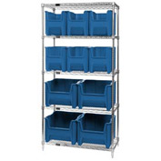 Quantum WR5-600800 Chrome Wire Shelving With 10 Giant Hopper Bins Blue, 18x36x74
