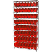 "Quantum WR9-201 Chrome Wire Shelving with 64 6""H Plastic Shelf Bins Red, 36x12x74"