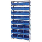 "Quantum WR9-209 Chrome Wire Shelving with 24 6""H Plastic Shelf Bins Blue, 36x12x74"