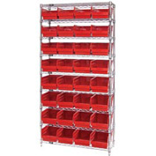 "Quantum WR9-214 Chrome Wire Shelving with 32 6""H Plastic Shelf Bins Red, 36x24x74"