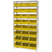 "Quantum WR9-216 Chrome Wire Shelving with 24 6""H Plastic Shelf Bins Yellow, 36x24x74"