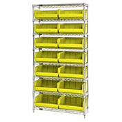 Chrome Wire Shelving With 14 Giant Plastic Stacking Bins Yellow, 36x14x74