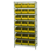 Chrome Wire Shelving With 21 Giant Plastic Stacking Bins Yellow, 36x18x74