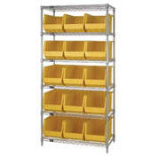 Chrome Wire Shelving With 15 Giant Plastic Stacking Bins Yellow, 36x18x74
