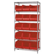 Chrome Wire Shelving With 15 Giant Plastic Stacking Bins Red, 36x18x74