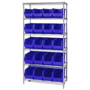 Quantum WR6-265 Chrome Wire Shelving With 20 Giant Plastic Stacking Bins Blue, 36x18x74