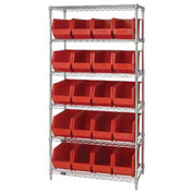 Quantum WR6-265 Chrome Wire Shelving With 20 Giant Plastic Stacking Bins Red, 36x18x74