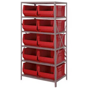 "Quantum 2475-954 Steel Shelving with 10 24""D Hulk Hopper Bins Red, 24x36x75"