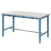 "96""W x 30""D Production Workbench with Power Apron - Plastic Laminate Square Edge - Blue"