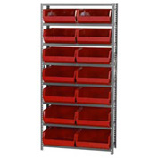 Quantum QSBU-250 Steel Shelving With 14 Giant Stacking Bins Red, 12x36x75