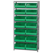 Quantum QSBU-250 Steel Shelving With 14 Giant Stacking Bins Green, 12x36x75