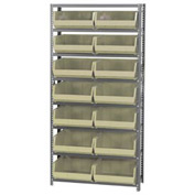 Quantum QSBU-250 Steel Shelving With 14 Giant Stacking Bins Ivory, 12x36x75