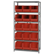 Quantum QSBU-260 Steel Shelving With 15 Giant Stacking Bins Red, 18x36x75