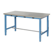 "72""W x 30""D Production Workbench with Power Apron - Stainless Steel Square Edge - Blue"