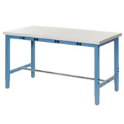 "72""W x 30""D Production Workbench with Power Apron - Plastic Laminate Safety Edge - Blue"