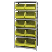 Quantum QSBU-270 Steel Shelving With 10 Giant Stacking Bins Yellow, 18x36x75