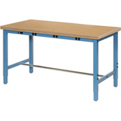 "96""W x 30""D Production Workbench with Power Apron - Shop Top Square Edge - Blue"