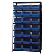 Quantum MSU-532 Steel Shelving With 21 Magnum Giant Hopper Bins Blue, 18x42x75