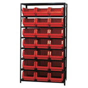 Quantum MSU-532 Steel Shelving With 21 Magnum Giant Hopper Bins Red, 18x42x75