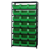 Quantum MSU-532 Steel Shelving With 21 Magnum Giant Hopper Bins Green, 18x42x75