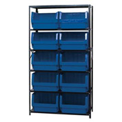 Quantum MSU-543 Steel Shelving With 10 Magnum Giant Hopper Bins Blue, 18x42x75