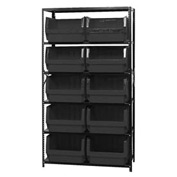 Quantum MSU-543 Steel Shelving With 10 Magnum Giant Hopper Bins Black, 18x42x75