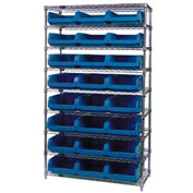 Quantum WR9-531 Chrome Shelving With 24 Magnum Giant Hopper Bins Blue, 18x42x74