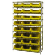 Quantum WR9-531 Chrome Shelving With 24 Magnum Giant Hopper Bins Yellow, 18x42x74