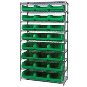 Quantum WR9-531 Chrome Shelving With 24 Magnum Giant Hopper Bins Green, 18x42x74