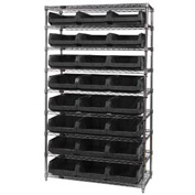 Quantum WR9-531 Chrome Shelving With 24 Magnum Giant Hopper Bins Black, 18x42x75