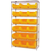 Quantum WR7-532 Chrome Shelving With 18 Magnum Giant Hopper Bins Yellow, 18x42x74