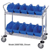"Quantum WRC3-1836-1285 Chrome Wire Mobile Cart With 12 QuickPick Double Open Bins Blue, 36""x18""x38"""
