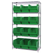 Quantum WR5-533 Chrome Shelving With 12 Magnum Giant Hopper Bins Green, 18x42x74