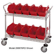 """Quantum WRC3-1836-1285 Chrome Wire Mobile Cart With 12 QuickPick Double Open Bins Red, 36""""x18""""x38"""""""