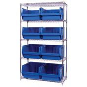 Quantum WR5-543 Chrome Shelving With 8 Magnum Giant Hopper Bins Blue, 18x42x74