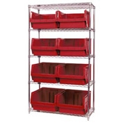 Quantum WR5-543 Chrome Shelving With 8 Magnum Giant Hopper Bins Red, 18x42x74