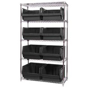Quantum WR5-543 Chrome Shelving With 8 Magnum Giant Hopper Bins Black, 18x42x74