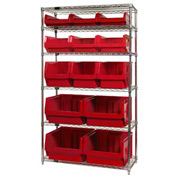 Quantum WR6-13-MIX Chrome Shelving With 13 Magnum Giant Hopper Bins Red, 18x42x74