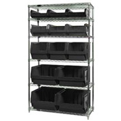 Quantum WR6-13-MIX Chrome Shelving With 13 Magnum Giant Hopper Bins Black, 18x42x74