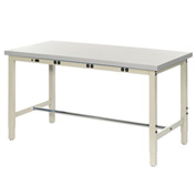 """96""""W x 30""""D Production Workbench with Power Apron - Plastic Laminate Square Edge - Tan"""