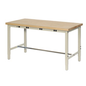 "96""W x 30""D Production Workbench with Power Apron - Maple Butcher Block Square Edge - Tan"