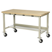 "60""W x 30""D Mobile Production Workbench with Power Apron - Maple Butcher Block Square Edge - Tan"