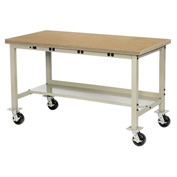 "72""W x 36""D Mobile Production Workbench with Power Apron - Shop Top Square Edge - Tan"
