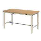 "96""W x 30""D Production Workbench with Power Apron - Shop Top Square Edge - Tan"