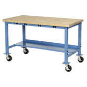 "72""W x 36""D Mobile Production Workbench with Power Apron - Maple Butcher Block Square Edge - Blue"