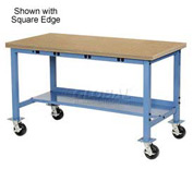 "60""W x 30""D Mobile Production Workbench with Power Apron - Shop Top Safety Edge - Blue"