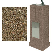 Concrete Upright Drinking Fountain - Tan River Rock