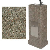 Outdoor Drinking Fountain - Concrete Upright, Gray Limestone