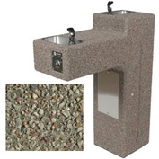 Concrete Freeze Resistant Outdoor Drinking Fountain, Dual Station, ADA - Gray