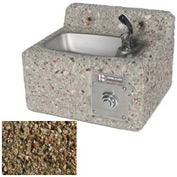 Outdoor Drinking Fountain   Concrete, Wall Mount, Tan River Rock